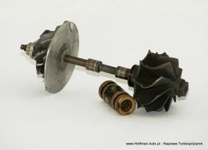 Turbosprężarka - uszkodzony wałek, tuleja, a także wirniki posiadają uszkodzenia mechaniczne