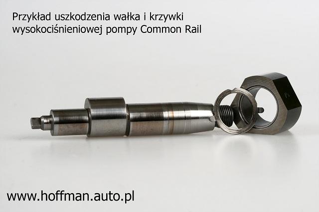 Przykład uszkodzenia wałka i krzywki wysokociśnieniowej pompy Common Rail